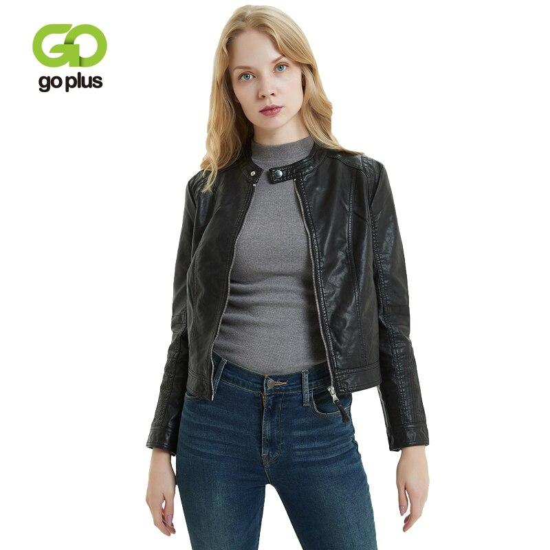 GOPLUS Womens Moto Biker Zipper Jacket O-neck Faux Leather Slim Black Coat Jackets Women Veste Cuir Kurtka Ramoneska