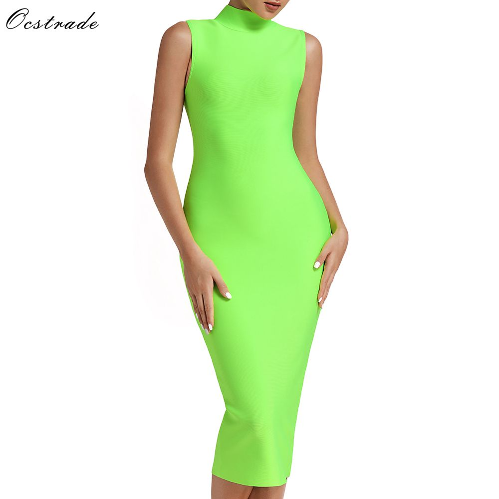Ocstrade Rayon Vestidos Bandage 2019 Sexy Summer New Arrival Women High Neck Neon Green Bandage Dress Midi Bodycon Party Dress