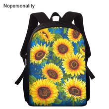 Nopersonality Sunflower Print School Bag for Children Boys Girls Stylish School Bag Kindergarten Bag Mochila Infantil 15 inch