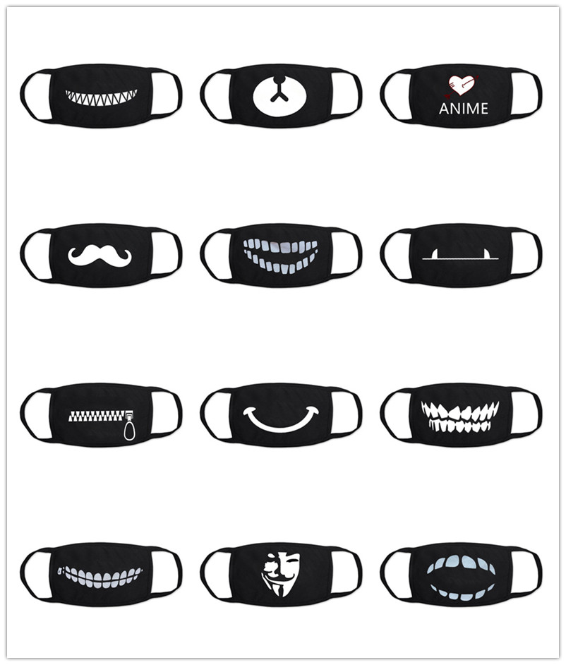 1PCS Black Bilayer Cotton Cartoon Mouth Mask Anti Haze Dust Washable Reusable  Dustproof Mouth-muffle Winter Warm Mask