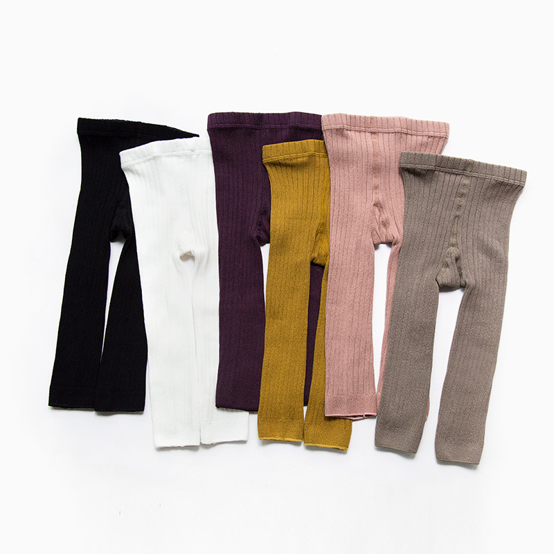 2020 0-5 Years Kids Knitted Leggings Baby Boys Girls Leggings Trousers Ribbed Spring Autumn Ankle-length Pants For Children