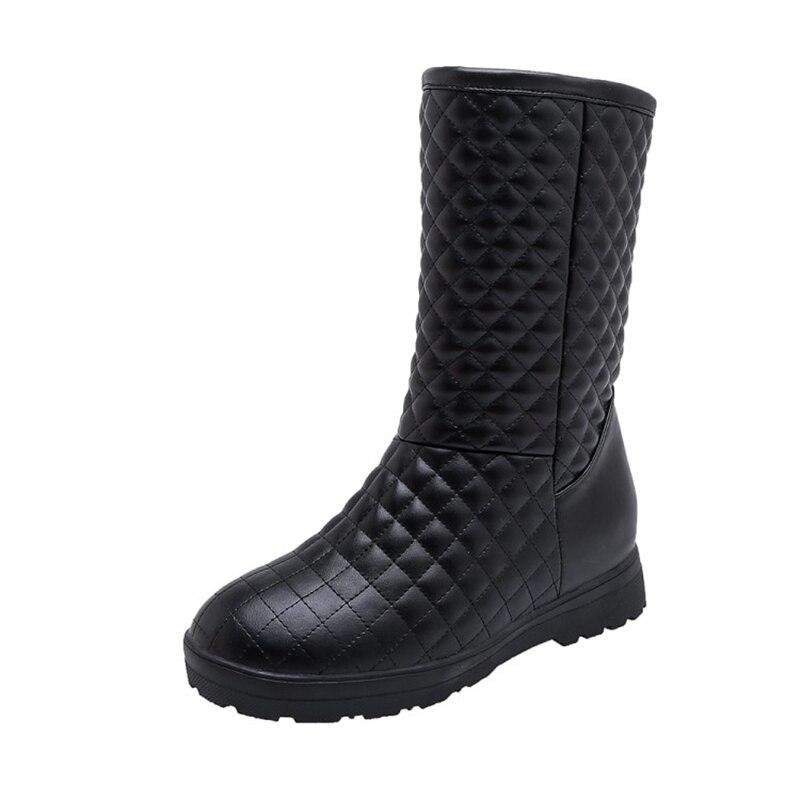 Image 3 - BLXQPYT Super Big & small Size 33 53 da Neve do Inverno Botas de Mulheres 2019 rodada toe Altura Crescente casual quente pelúcia Sapatos de mulher 233Botas de cano médio   -