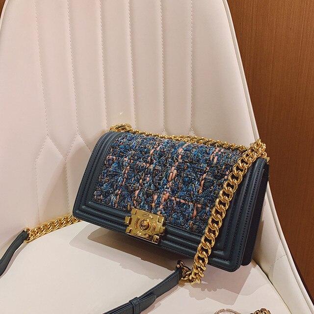Kobiety kożuch torebki łańcuchy pokrywa torby na ramię kurierskie torba Crossbody Flap wełna mieszanka dziania torebka