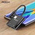 Адаптер ROCK 2 в 1 с двумя разъемами Type-C  60 Вт  PD  3A  быстрая зарядка  USB C наушники  Aux  аудио кабель  сплиттер  конвертер для мобильных телефонов