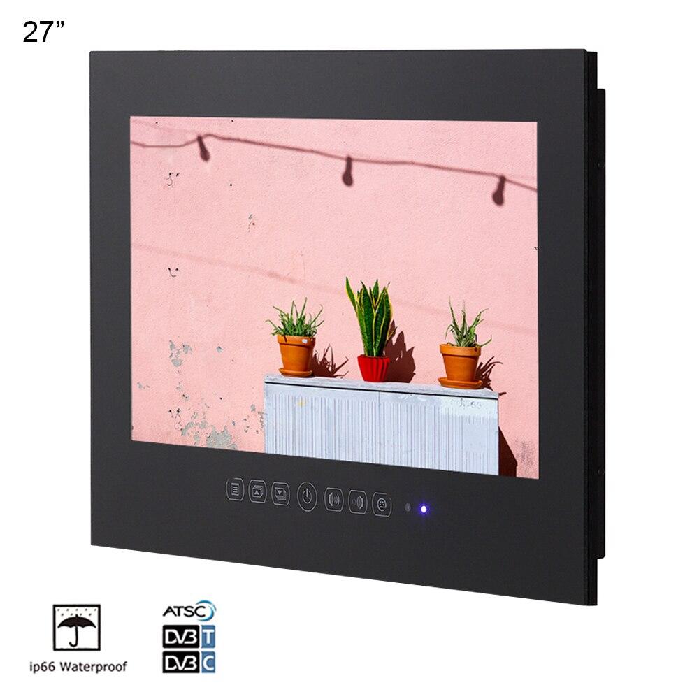"""Souria-TV LED de 27 """", Full HD, 1080, resistente al agua, para baño, TV y ducha, IP66, pantalla resistente al agua (negro/blanco)"""
