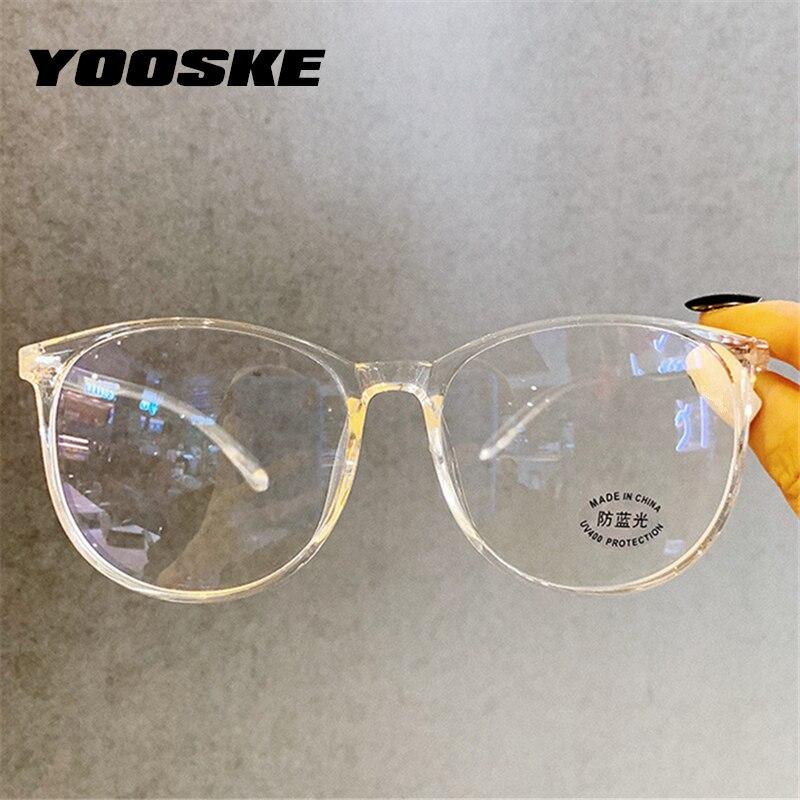YOOSKE Round Glasses Frame Women Oversized Anti-blue Light Computer Eyeglasses Frames Men Optical Frame Transparent Spectacles