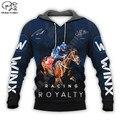 Новинка, модный спортивный костюм PLstar Cosmos с изображением гонок, лошадей, животных, пуловер, повседневный свитшот на молнии с принтом 3D, мужск...