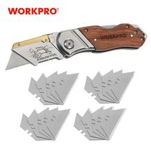 WORKPRO Utility Knife Folding Knife Pipe Cutter Pocket Knife Wood Handle Knife With 20PCS Blades