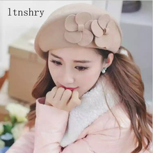 New Fashion Brand Winter Top hat Beret Hat Flower Women Female Beanie Cap Flower French Trilby 100%Wool Soft Stewardess Hat kenmont new arrival brand winter hat 100