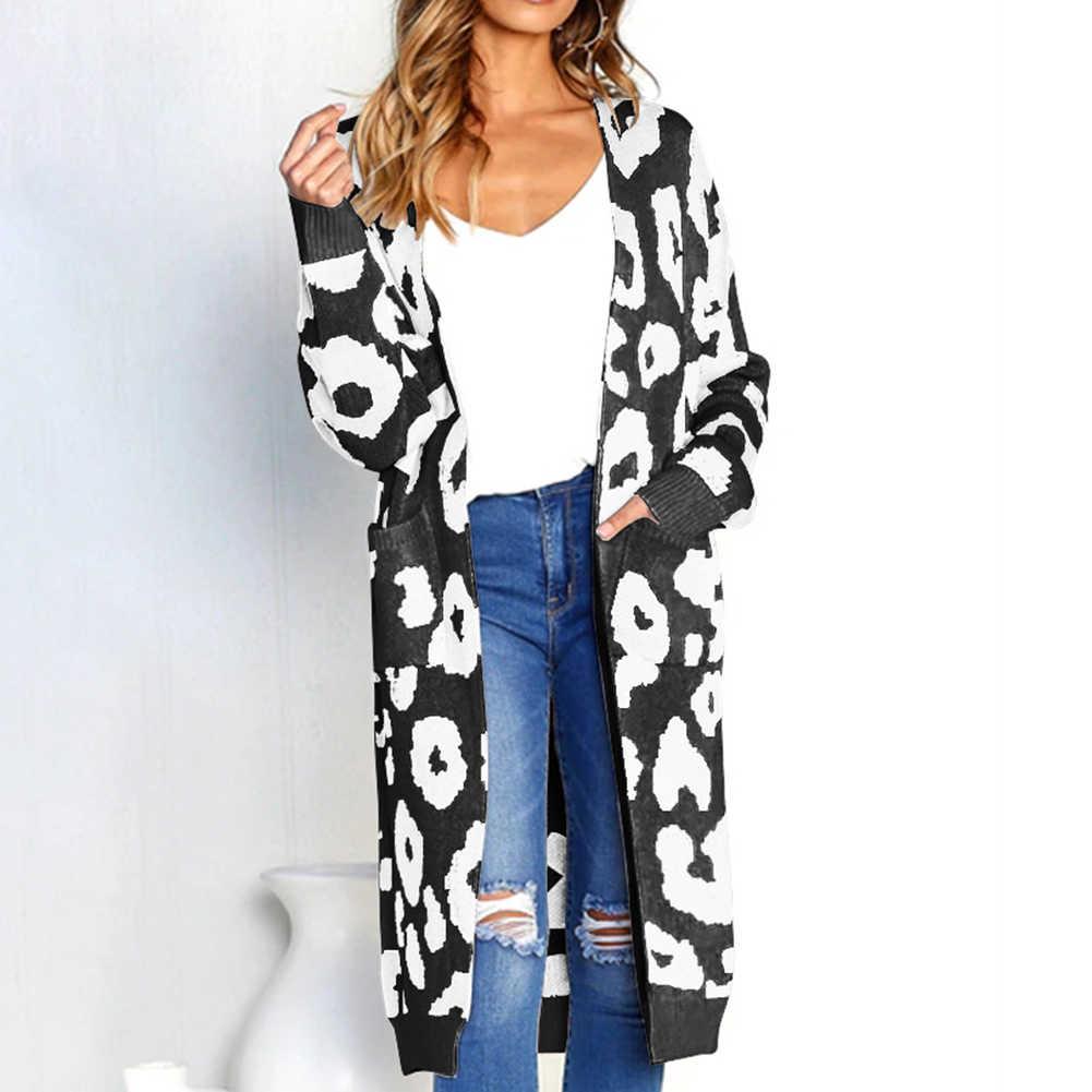 Antime הדפס מנומר סרוג סוודר ארוך שרוול קרדיגן מקרית סתיו חורף נשים מעיל כיסים בתוספת גודל סוודר ג 'רזי mujer