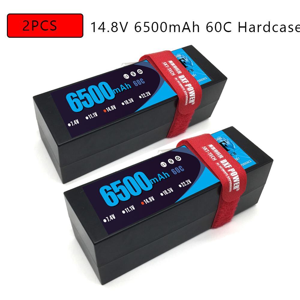 DXF 7.4V 14.8V 2S 4S 6500mAh 5200mAh 50C 60C Max 100C 120C LiPo Battery 2S 4S HardCase For 1/8 1/10 RC Car Model  Slash Emaxx
