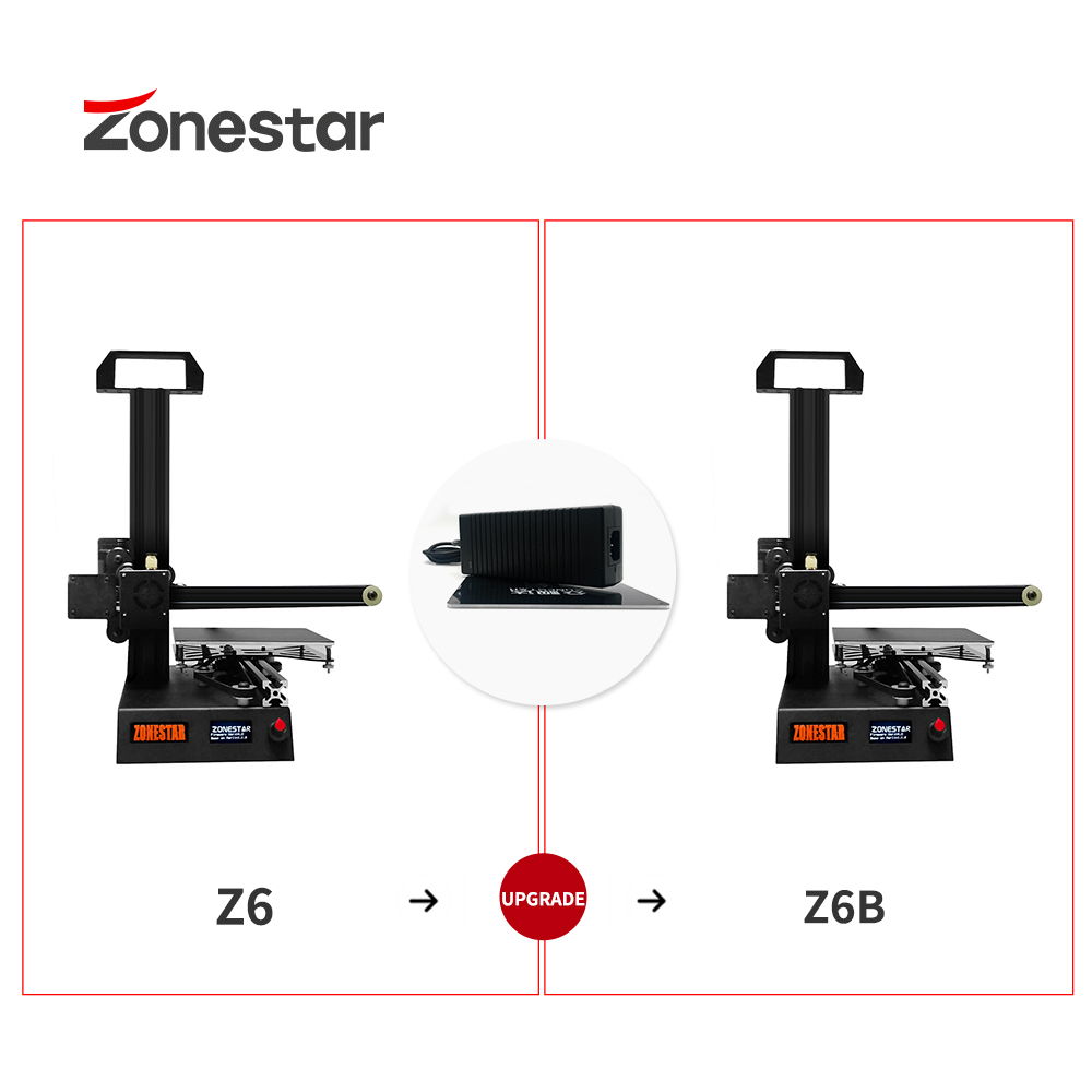 ZONESTAR Z6 Upgrade Kit  3D Printer 150x150mm Hotbed With 12V/10A Power Adapter 3D Printer Parts Z6F Upgrade To Z6FB