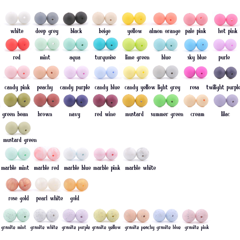 Let's Make 100pcs Perle Silicone Beads 15mm Baby Teether Round Beads Food Grade Beads DIY BPA Free Beads 15mm Silicone Beads