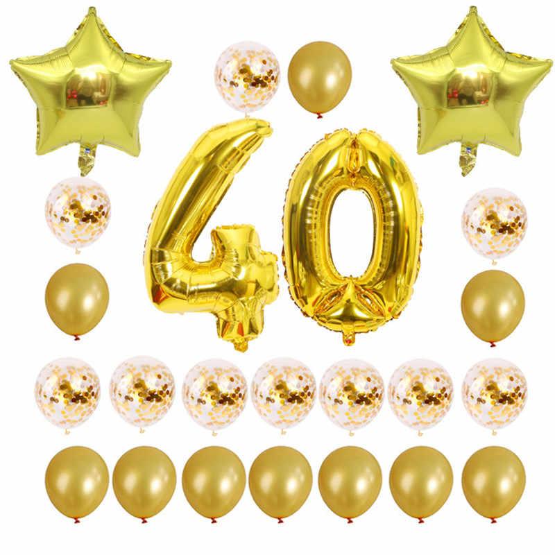 Hot 24 ชิ้น/เซ็ต 16 21 30 40 50 60 ปีวันเกิด Happy Rose Gold Confetti 40 นิ้วอลูมิเนียมฟอยล์วันเกิดตกแต่ง 55