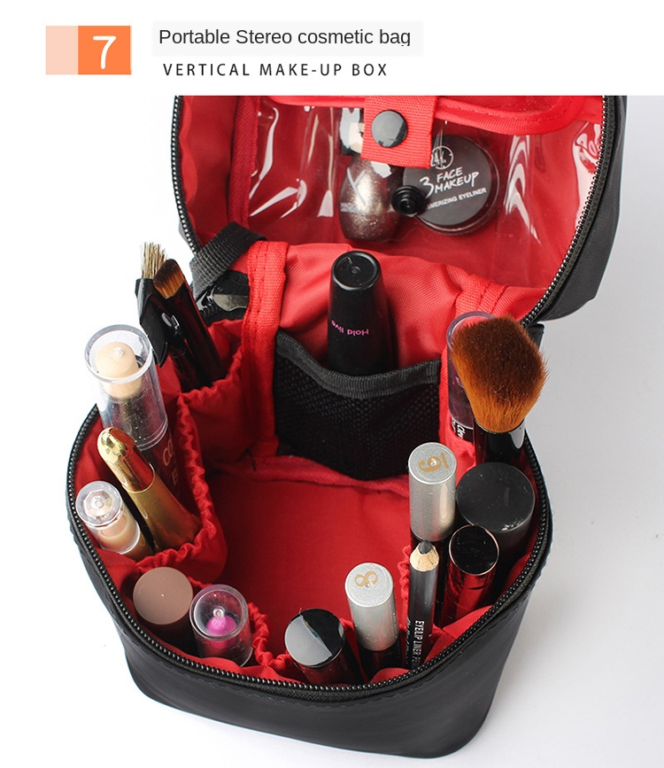 Washable Barrel Shaped Makeup Organizer with Zipper for Women Suitable for Travel and Home Use 13