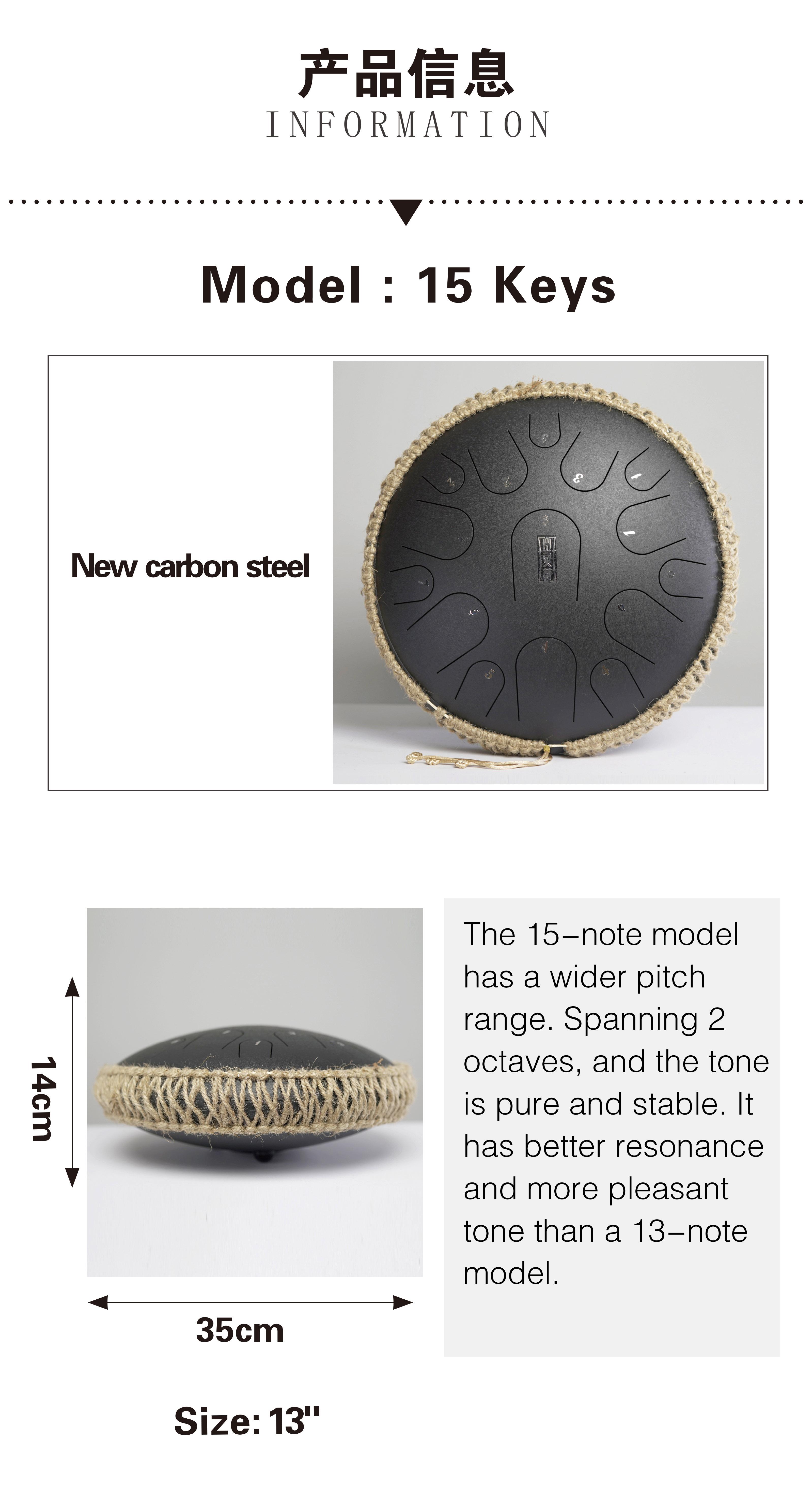 15 air main Pan réservoir tambour 13 pouces en acier langue tambour tampon réservoir bâtons sac de transport feuille de musique gratuite