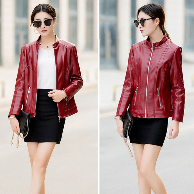 Faux PU Leather Jacket Women Winter Autumn Motorcycle Jacket Black Outerwear Down Jacket 2019 Coat Plus Size Parka