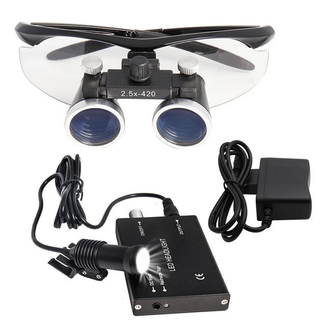3/5W Medical Headlight Dental Headlamp+2.5/3.5X Magnifying Glass Medical Magnifier Surgical Dental Loupes ENT Plastic Surgery