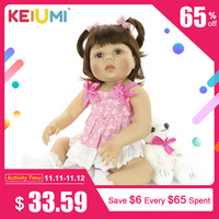 KEIUMI 23 inch Realistic Reborn Baby Dolls Full Silicone Vinyl Realistic Girl Doll For Children Birthday Gifts Best Playmate