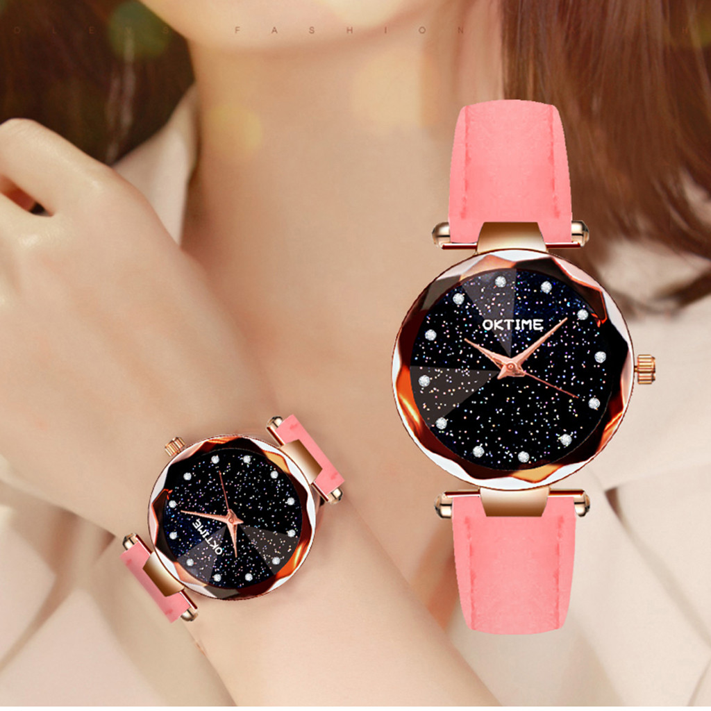Womens Romantic Starry Sky Faux Leather Analog Quartz Watch relgio feminino Special creative leather ladies watches 2020 Gift 1