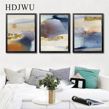 Nordic Abstract Decoration Golden Geometry Canvas Painting Wall Printing Posters for Living Room  DJ382