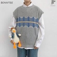 Men Sweater Knitted Vest Korean-Style Sleeveless Retro Chic Male Streetwear Patchwork