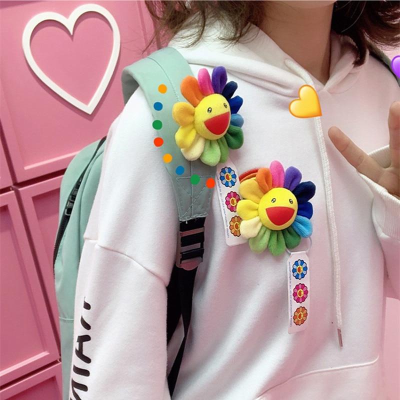 1Pcs Mini Plush Cute Animals Keychain Sun Flowers Brooch Bag Hanging Ornaments Pendant Soft Stuffed Sunflower Toy