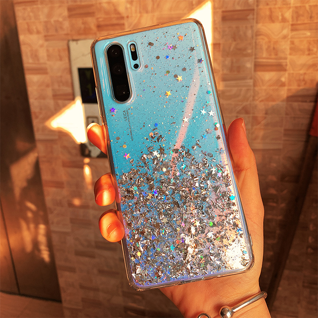 Bling Glitter Case for Huawei P20 Lite P30 Silicon Crystal Sequins Soft Cover for Huawei P30