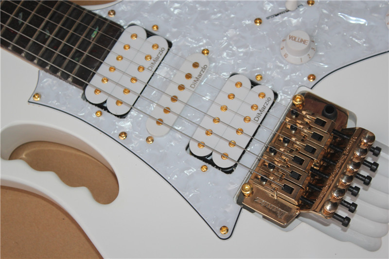 Top Quality White Electric Guitar 21 To 24 Frets Well Scalloped Guitar All Gold Hardware Free Shipping 7 Guitar 10yue V