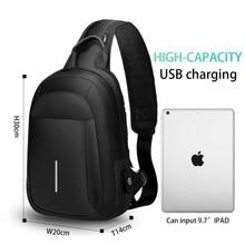 Multi-function cross-body bag men USB charging chest bag sho