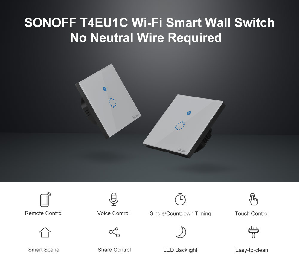 Sonoff t4 eu 1c wifi wall touch switch 1 gang eu no neutral wire required switches smart single wire wall switch works with alexa (t4eu1c)