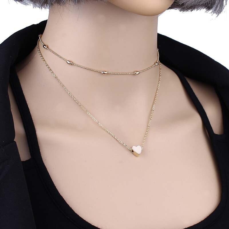 Женское Ожерелье золотого цвета, ювелирное изделие, ожерелье с сердечком и подвесками, чокер с двойной цепочкой, ожерелье с воротником, женское ювелирное изделие, подарок