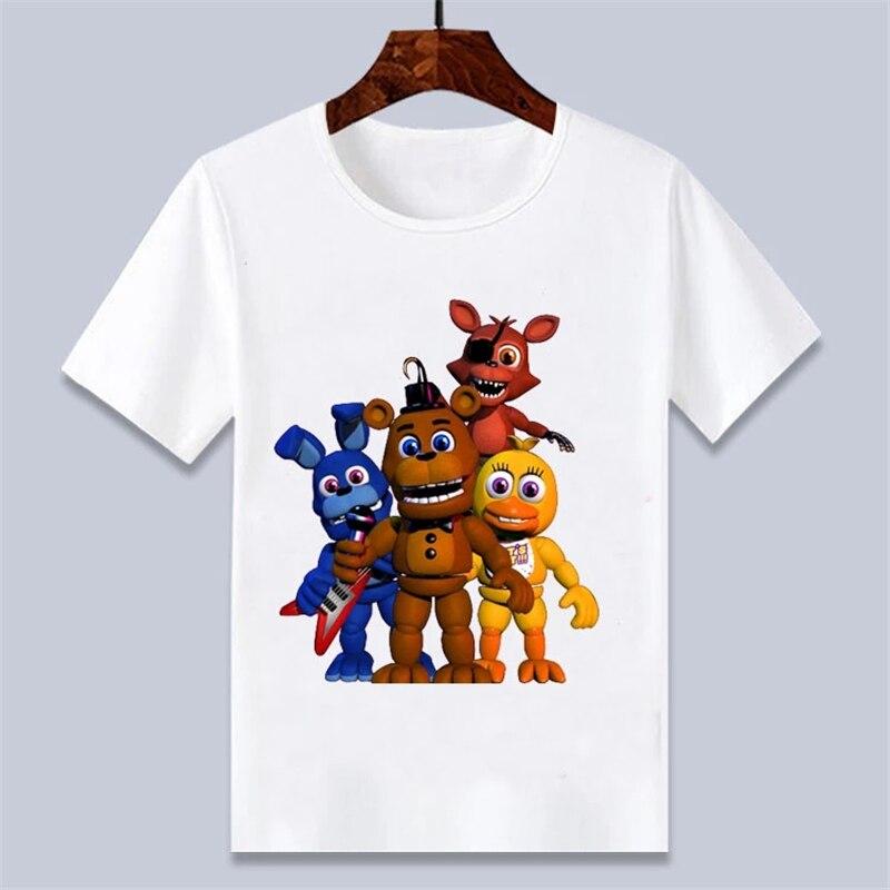Harajuku criança 3d cinco noites no freddy fnaf crianças t-shirt dos desenhos animados impresso meninos meninas camisetas unissex clotehs 0256