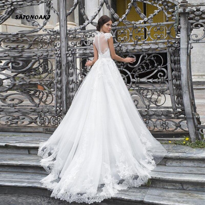 SATONOAKI кружевные свадебные платья с высоким воротом, рукав крылышко, прозрачное декольте, ТРАПЕЦИЕВИДНОЕ свадебное платье, аппликация, стари... - 2