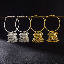 TopHanqi Women's Boho Ethnic Gold Silver Jhumka Indian Earring Gypsy Jewelry Vintage Big Bells Dangle Hanging Earrings For Women
