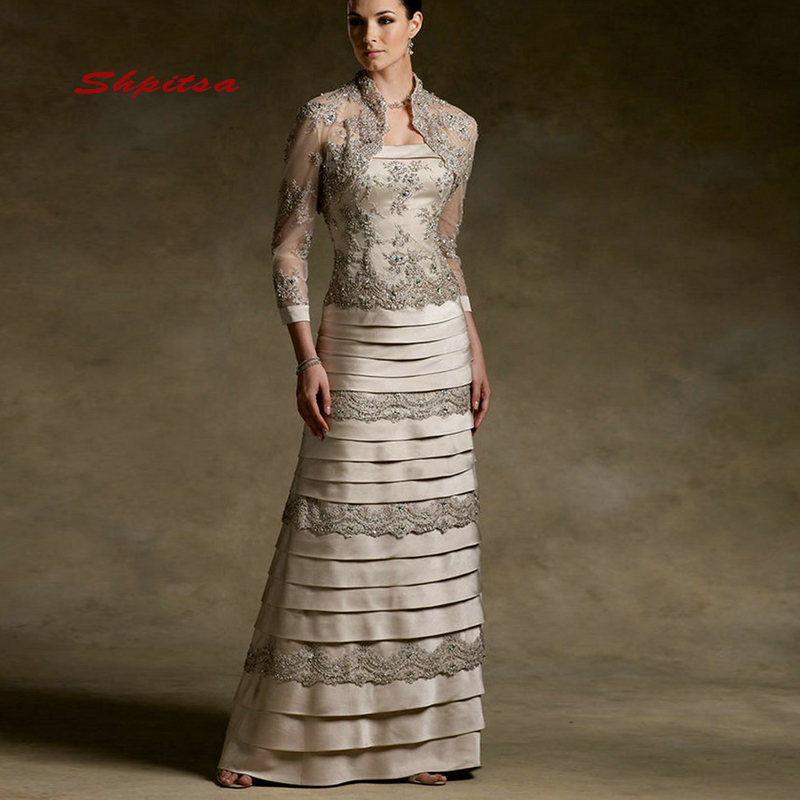 Lace <font><b>Mother</b></font> of the Bride Dresses for Weddings with Jacket Plus Size Party Dinner Evening Godmother Groom Dresses image