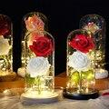 Вечная двойная Роза в стеклянном куполе, светодиодный, красота и чудовище, романтические подарки, домашний декор для Дня Святого Валентина, ...