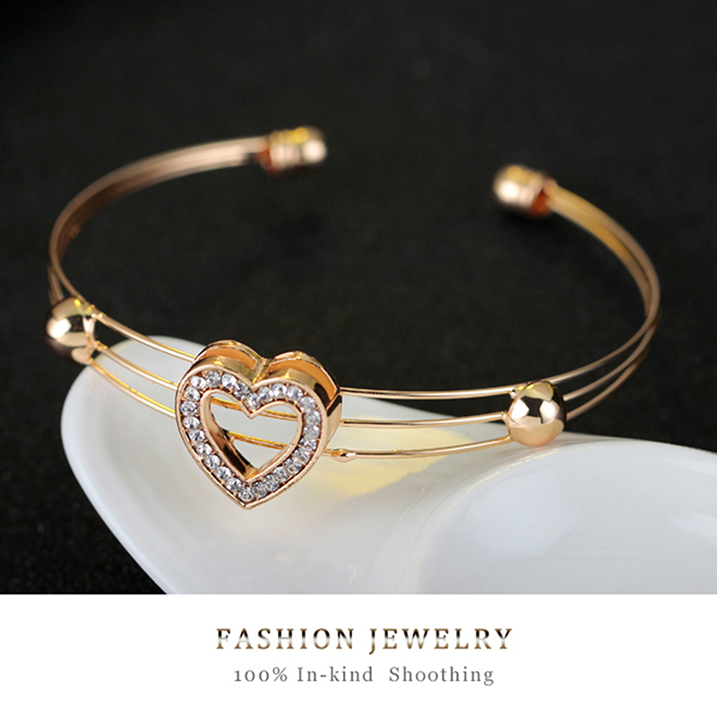 4pcs/lot Heart Shaped Bracelet Neclace Earrings Sets Jewelry Crystal Lovely Gold Color Jewelry Sets For Women Girl-2