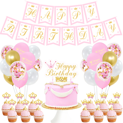 HAPPY BIRTHDAY Theme Girl's Birthday Party Decoration Pink Balloons Banner Cake Topper