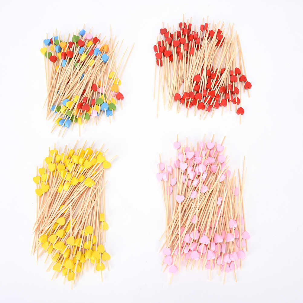 1-100Pcs Sekali Pakai Bambu Garpu Twisted Pesta Prasmanan Sajian Penutup Buah Makanan Koktail Sandwich Garpu Tongkat Memilih Tusuk Sate Kartun forks