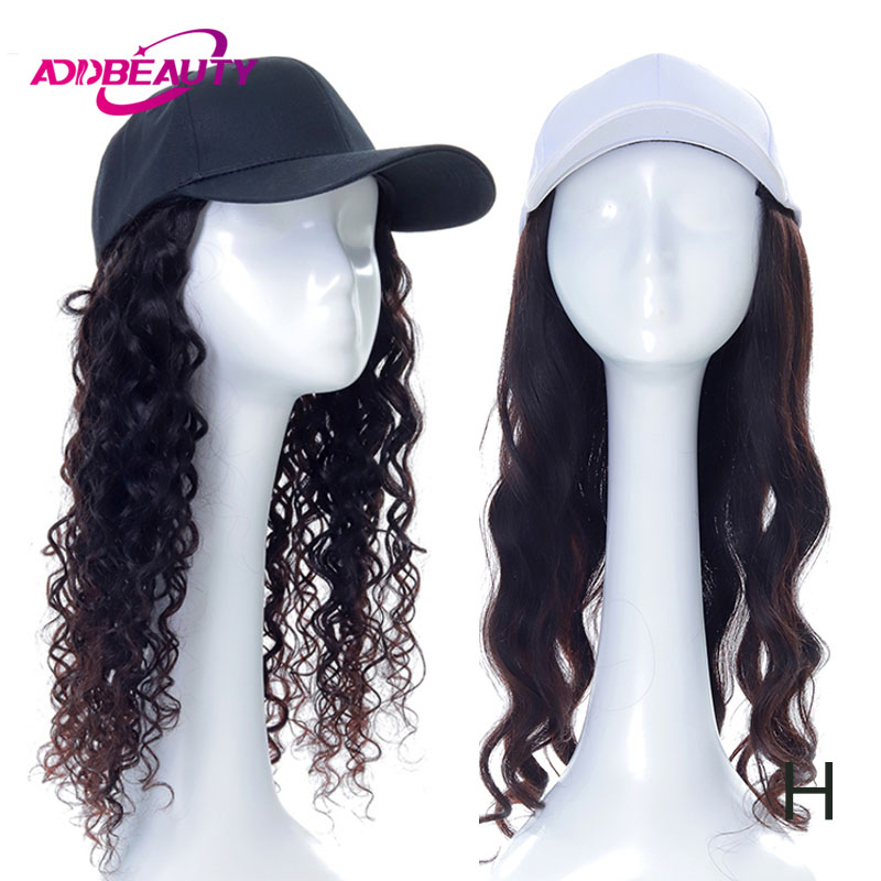 Addbeauty Baseball Cap Wig Body Wave Hat Natural Connect Color Remy Human Hair Extension Adjustable Fashion For Girl Party