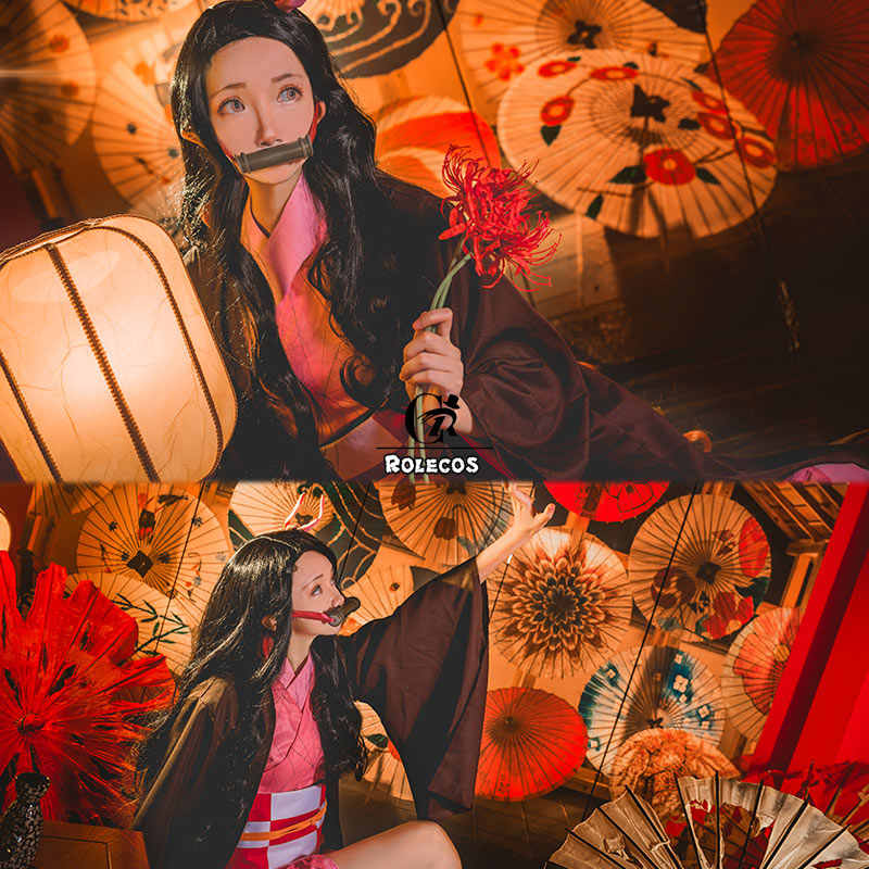 Rolecos anime demônio slayer kamado nezuko cosplay traje kimetsu não yaiba cosplay traje de halloween uniforme feminino quimono