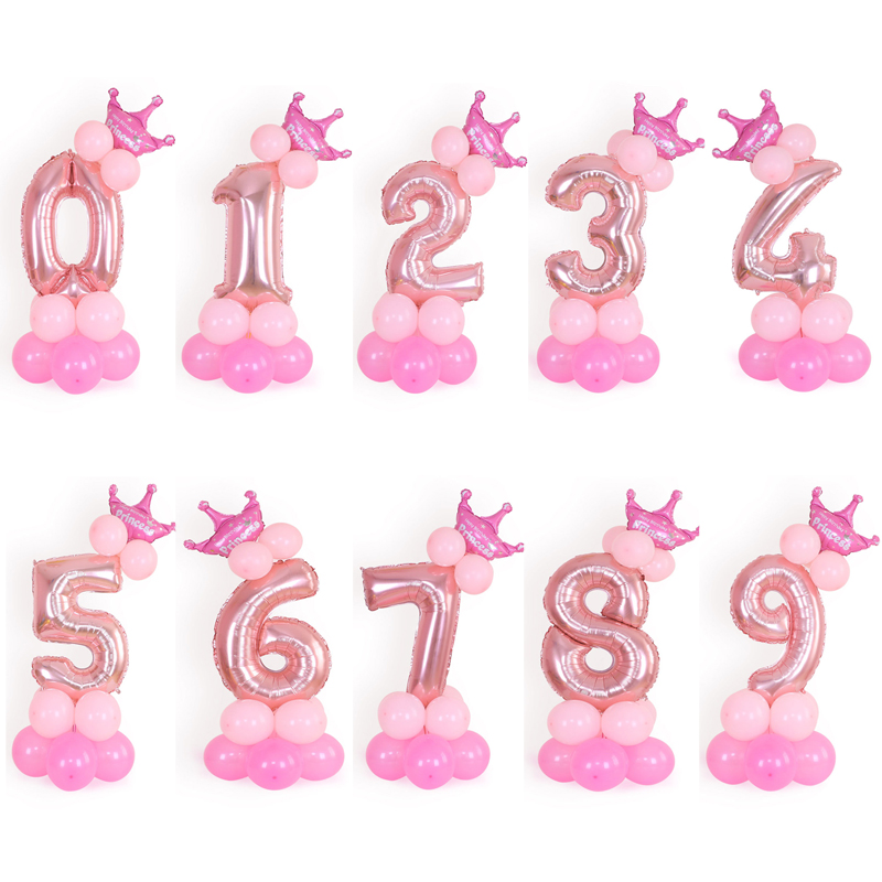 AnBnCn christmas <font><b>1</b></font> 2 3 4 5 6 7 8 9 rose gold number Foil Balloons digital helium <font><b>ballon</b></font> birthday party baloon adult globos image