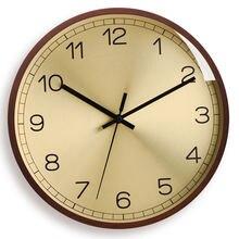 Креативные бесшумные настенные часы из дерева и розового золота