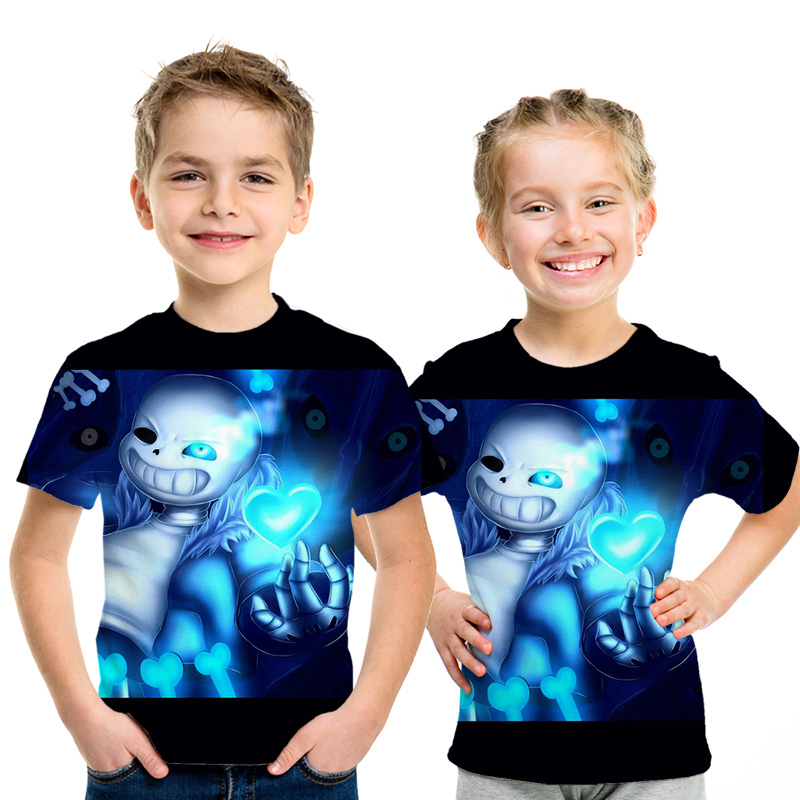 New Children 3D T-shirt Boys And Girls Anime Children Streetwear Boys Game Undertale Sans T Shirt HIP HOP Kids Short Sleeve Shir
