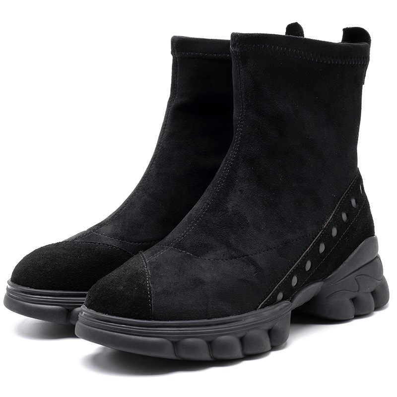 Sepatu Bot Wanita Cowe Suede Kulit Baji Sepatu Musim Dingin Sepatu Kets Wanita Hitam Santai Sepatu Boot Sepatu Wanita Handmade Martin Boots Glove135