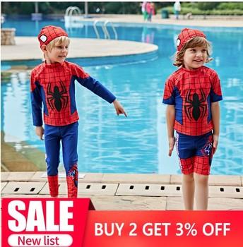 цена Swimwear Children Boy Swimsuit Two Piece Bathing Suits Swimming Suit Long Sleeve Cartoon Kids Beach Super hero Surfing Swim Wear онлайн в 2017 году