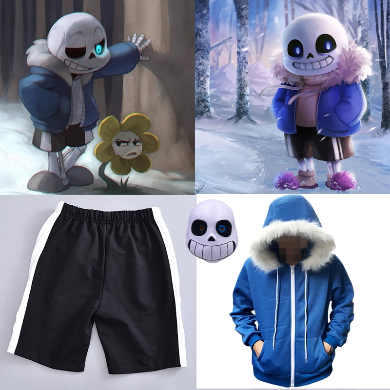 Undertale Sans Cosplay Hoodies Latex Mask COOL SKELETON Cos Blue Coat Halloween Cosplay Costume Unisex Jacket Headgear
