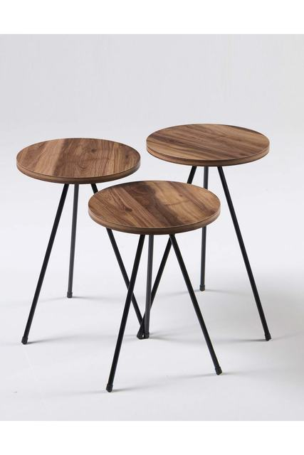 Triple Set Creative Round  Wooden  Coffee Tables 4