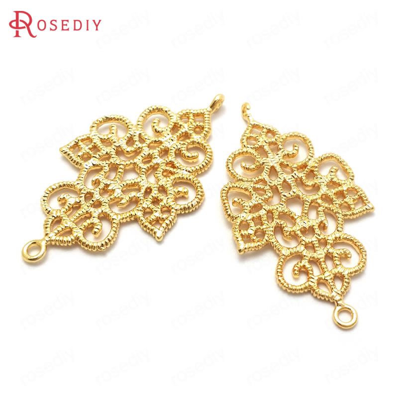 (37021)6PCS 34x19MM 24K Gold Color Brass 2 Holes Earring Connect Charms Pendants High Quality Findings Jewelry Making Supplies